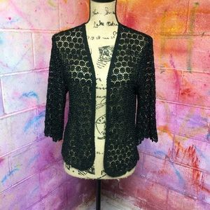 Sweaters - NWOT Black Crochet Knit Cardigan